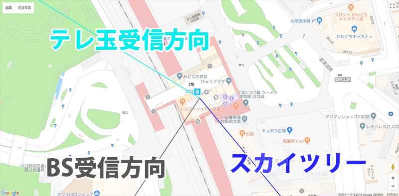 川口駅からみた受信方向
