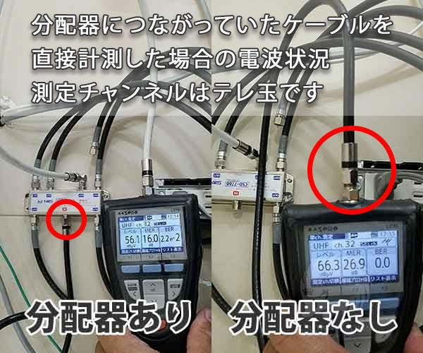 分配器経由と直接電波の違い