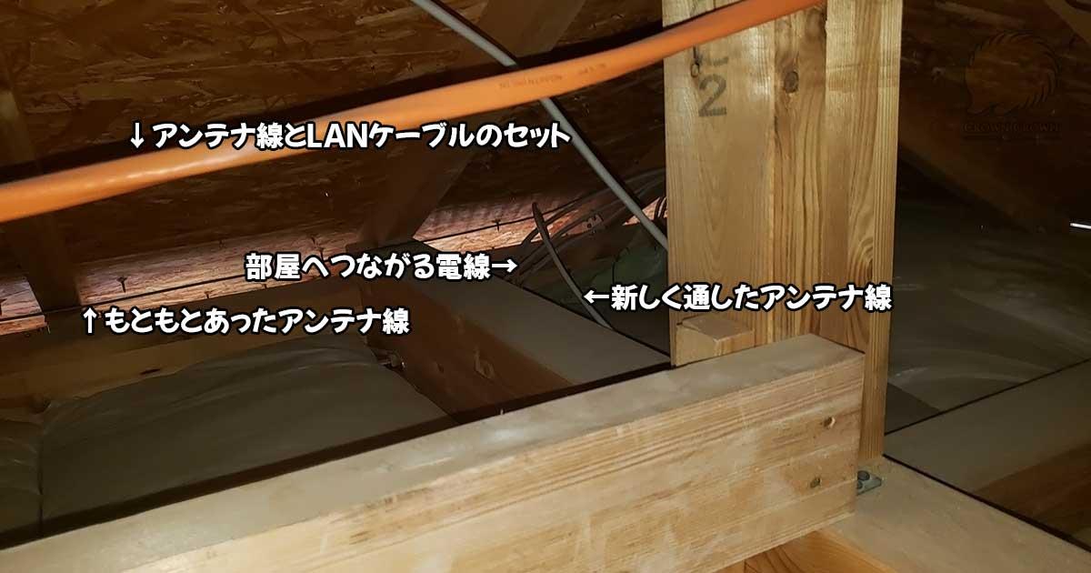 屋根裏内の配線